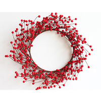 Wholesale Christmas home ornament foam Xmas artificial red berry wreath