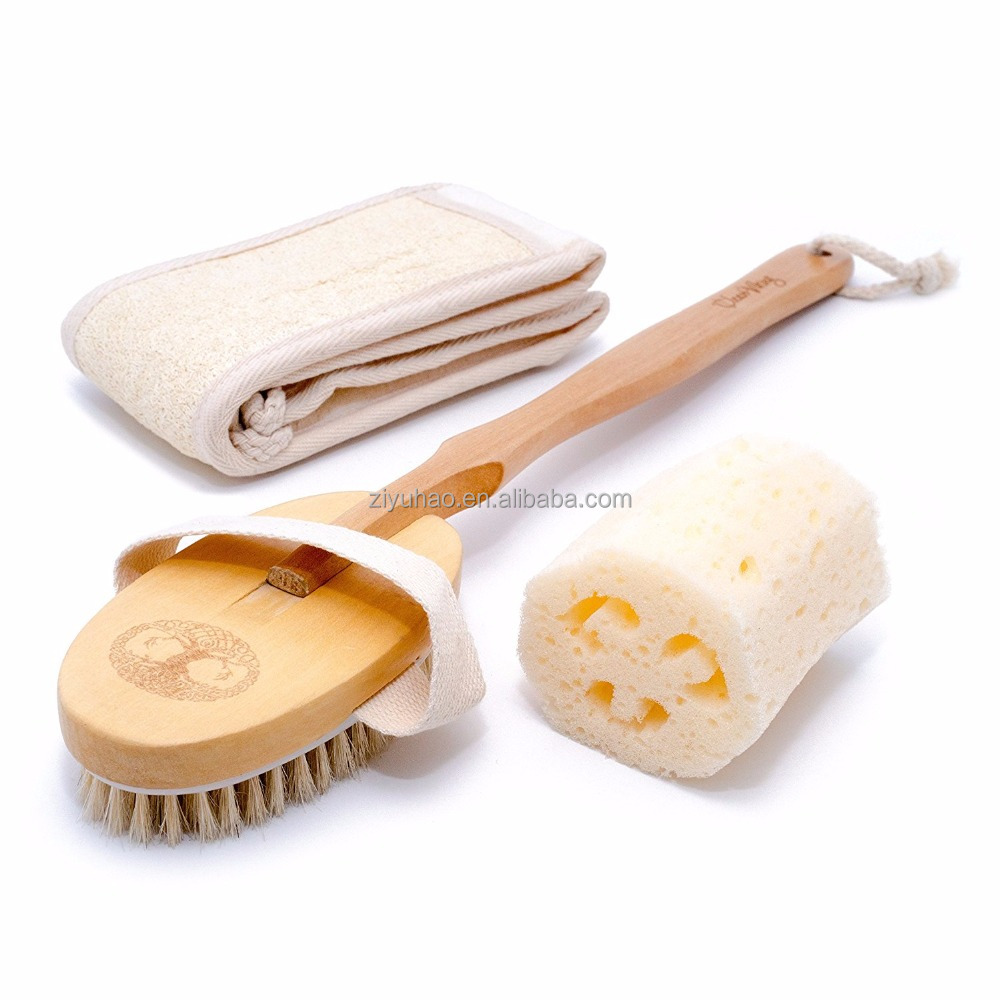 Bath Set (3 Pcs) by Clean : Long Shower Loofah Sponge | Oval Wooden Dry Bath Body Brush With Long Handle For Cellulite