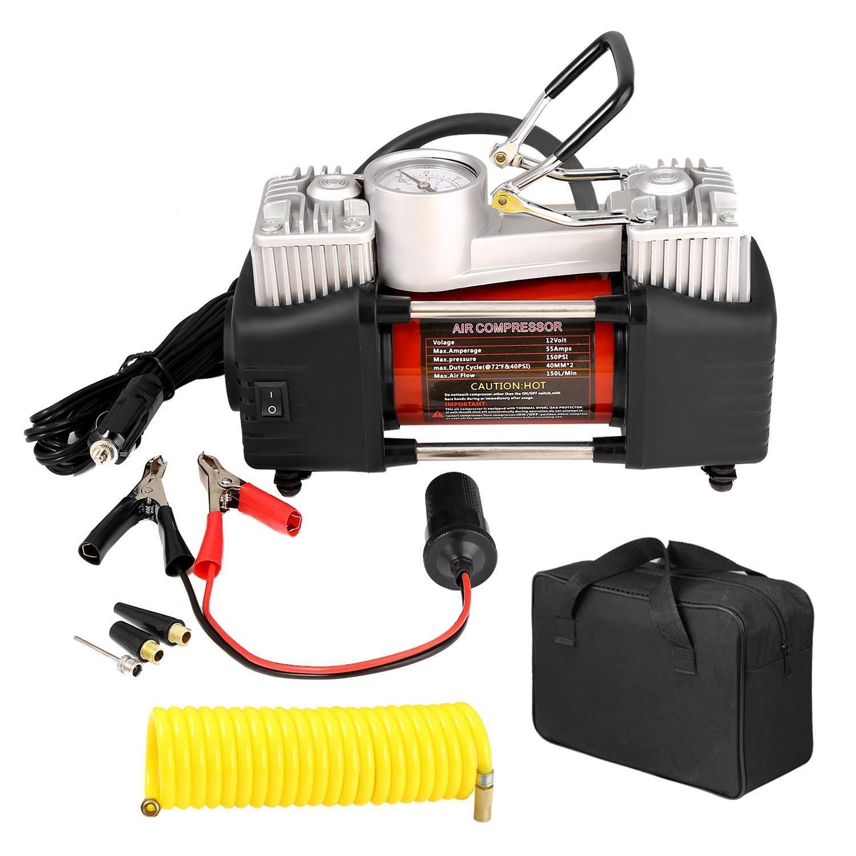 150PSI 12V Air Compressor, Portable 2 Cylinder Auto Car Digital Tire Inflator Pump w/ Gauge and 3M Extension Air Hose