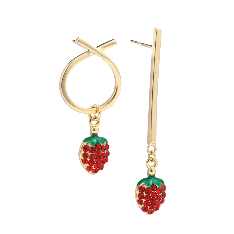 18k gold plated Strawberry Garnet Zircon <strong>sterling</strong> <strong>silver</strong> <strong>drop</strong> <strong>earring</strong>