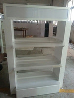 Online Shopping White Spray Paint Glass/Cup Floor Island Display Stand/Perfume Display Cabinets