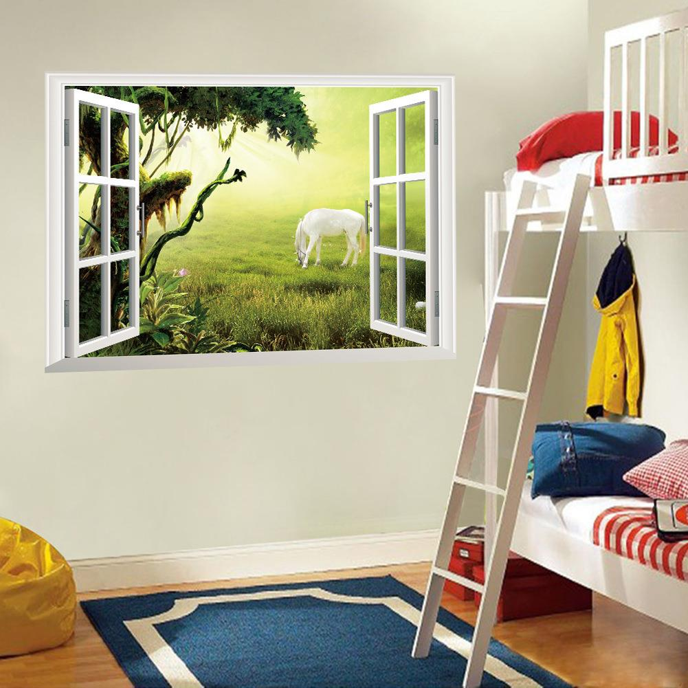 New hot style popular hot wall against false window decoration on the living room a study grass white horse