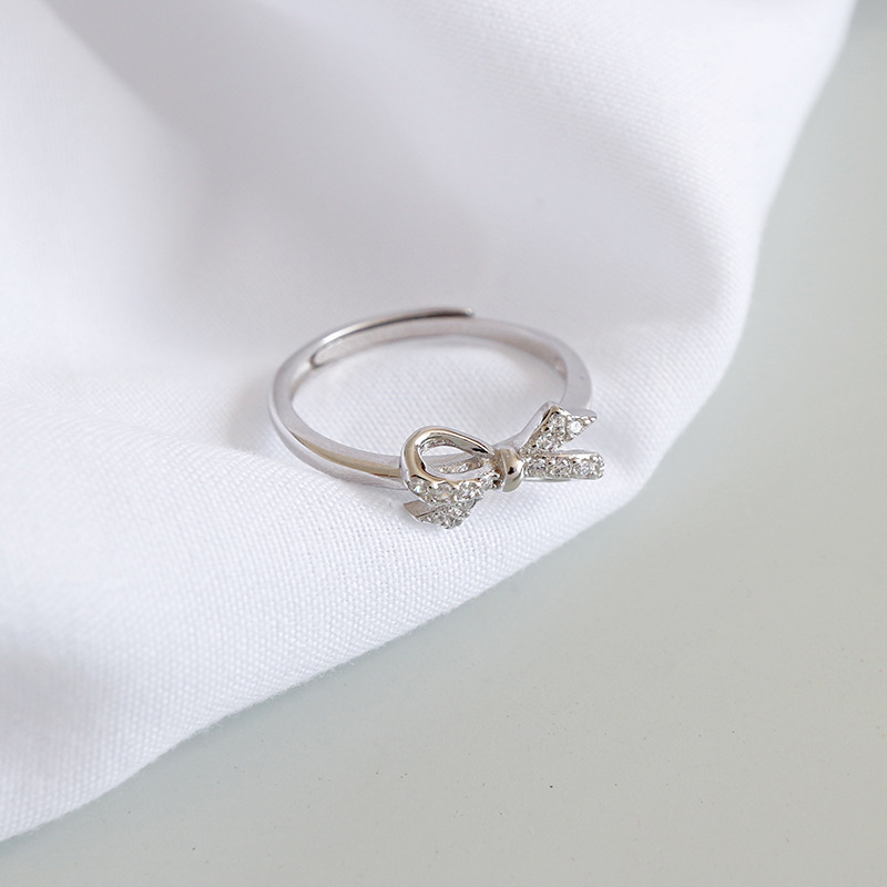Fashion 925 sterling silver zircon bow knot rings women