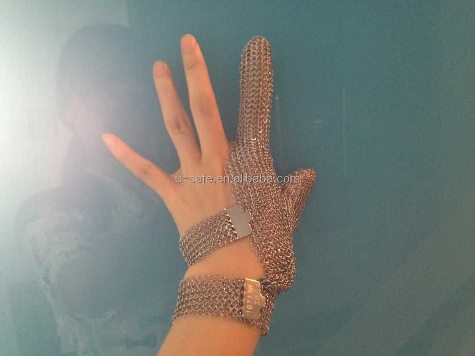 Two finger cut protect <strong>glove</strong> chainmail mesh <strong>glove</strong> for seafood processing