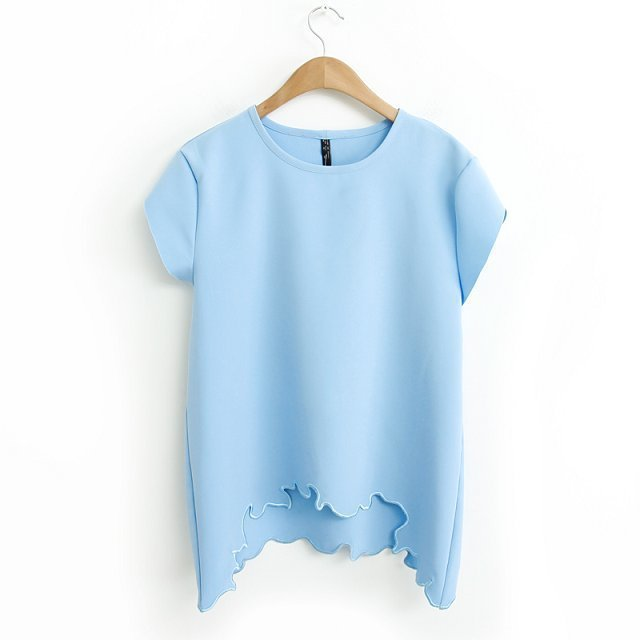 c1370da211ab Buy Summer Fashion Women Tops Tees Embroidery Side O-Neck Cropped Short  Sleeve White And Sky Blue T-Shirt Tee in Cheap Price on Alibaba.com