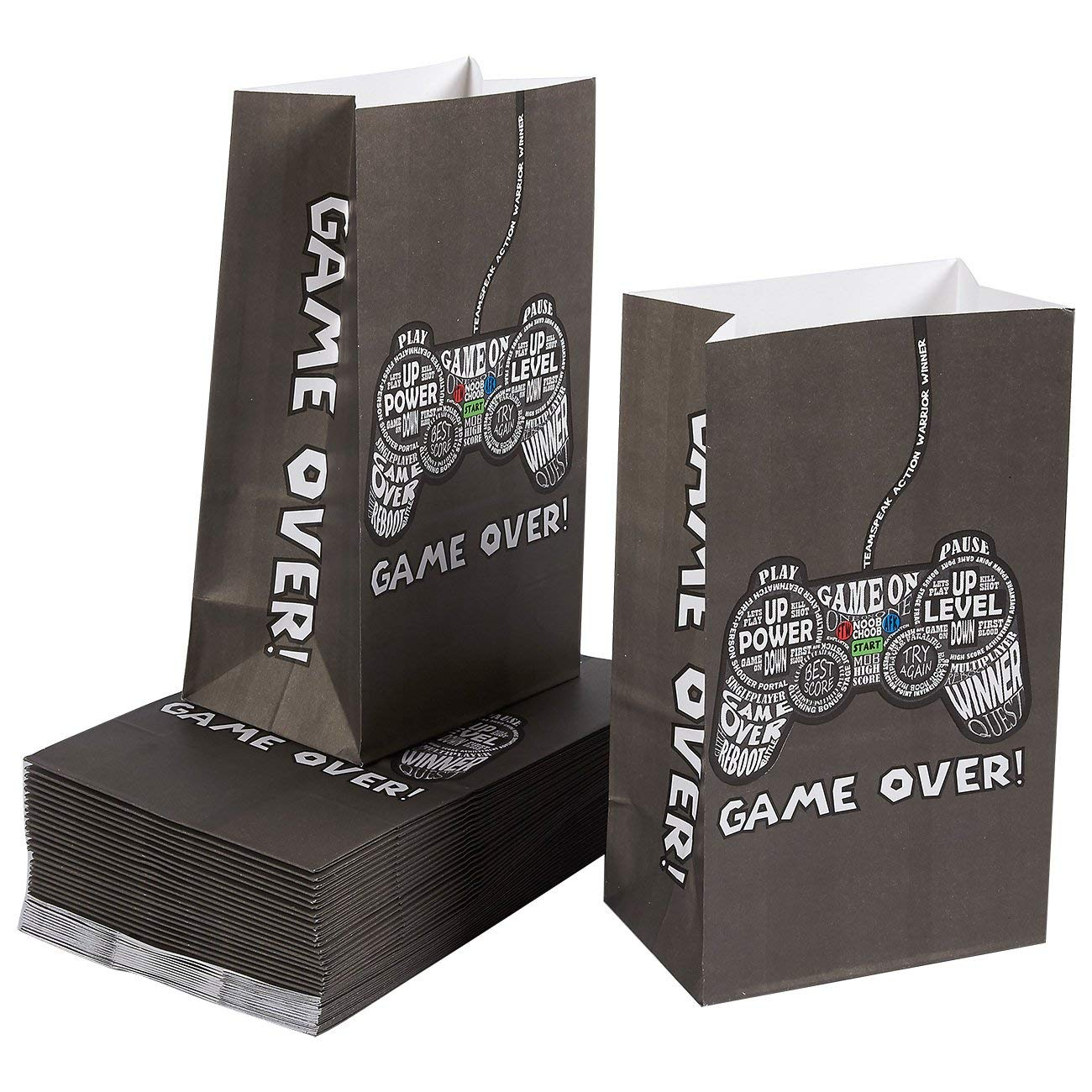 Party Treat Bags - 36-Pack Gift Bags, Gamer Party Supplies, Paper Favor Bags for Birthday Party Goodies, Recyclable Treat Bags for Kids - 5.2 x 8.7 x 3.3 Inches