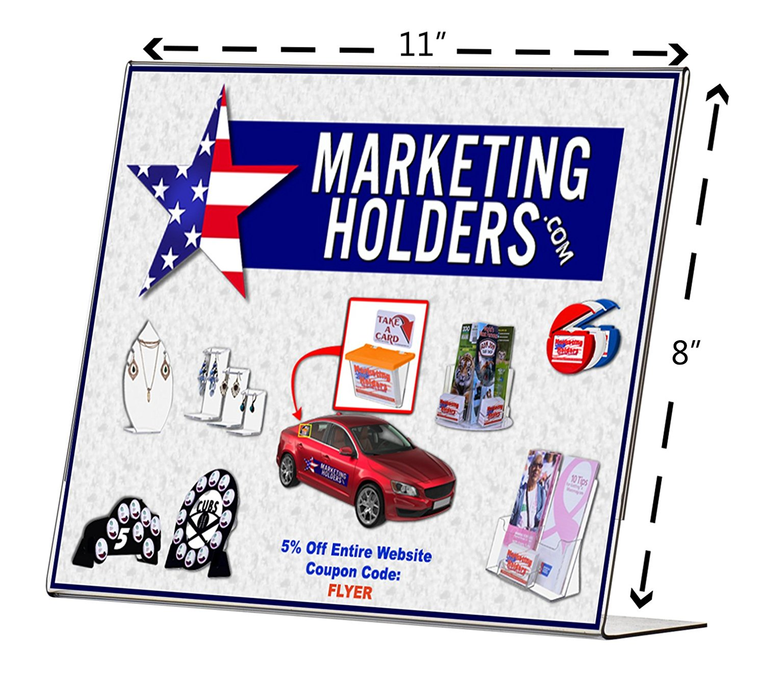 """Marketing Holders 11""""W x 8.5""""H Clear Acrylic Slant Back Table Sign Holder, Table Tent (Lot of 24)"""