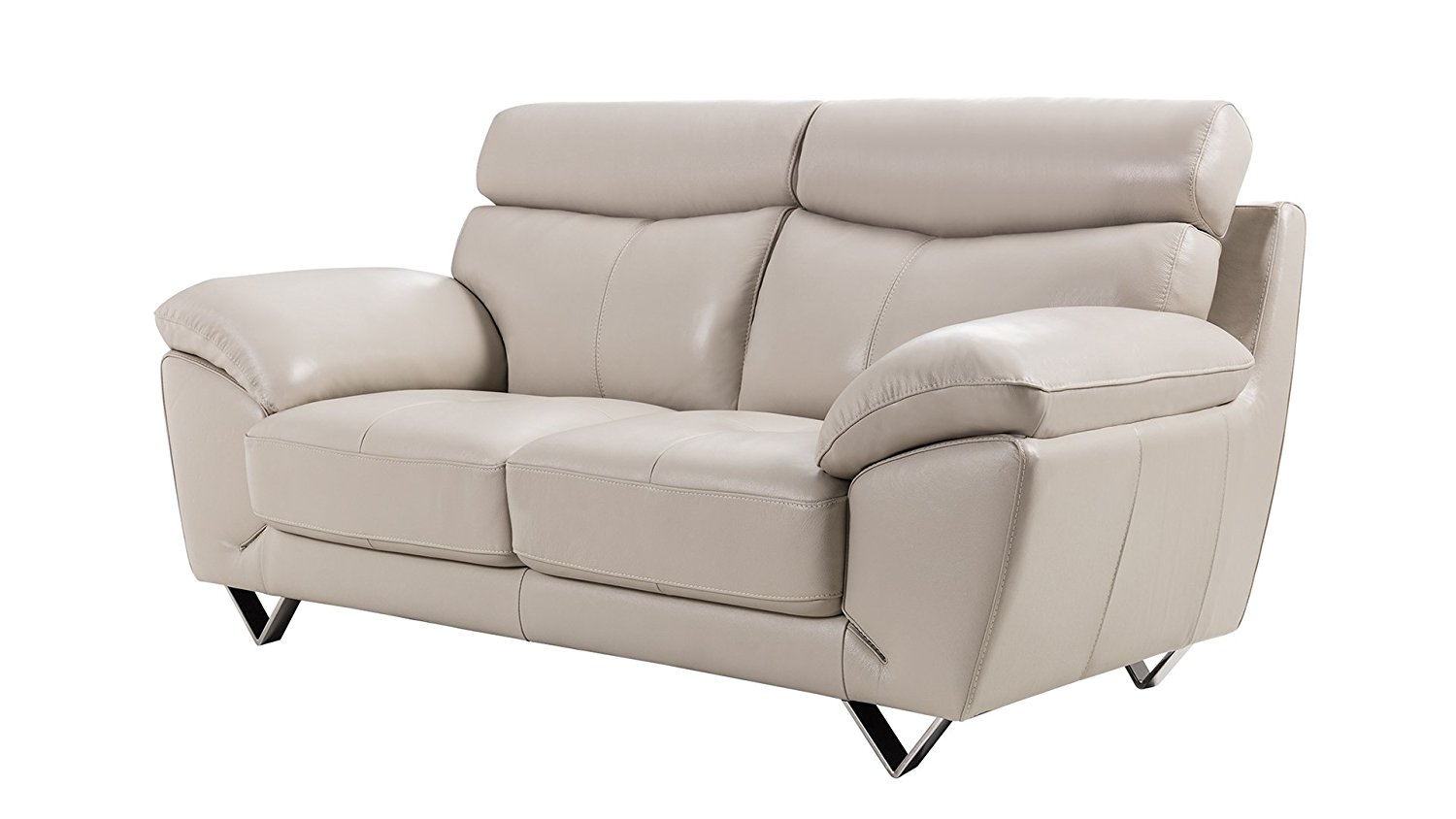 American Eagle Furniture Valencia Collection Italian Grain Leather Living Room Loveseat with Pillow Top Armrests, Light Gray