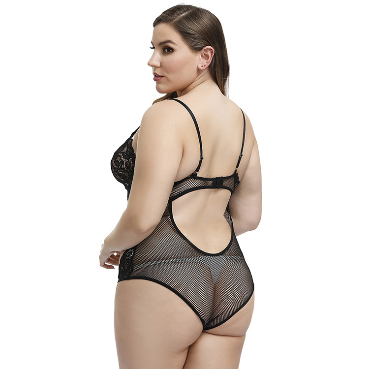 Plus Size In Stock One Piece Transparent Mesh Women Lace Bra Sexy Hot Babydoll Sexy Transparent