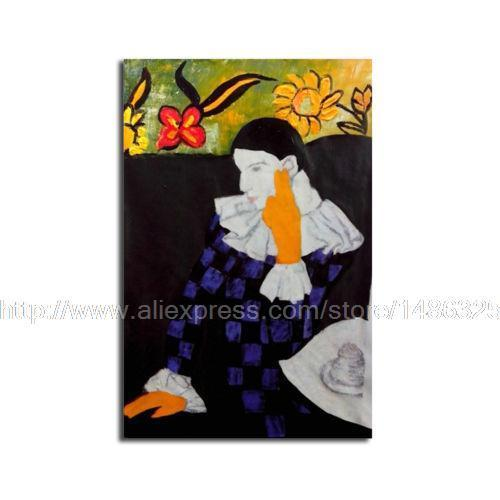 Arlequin Penchant Picasso Canvas Oil Painting Reproduction Cheap Textured Abstract Art Beautiful Lake Homes Home Decor Wall