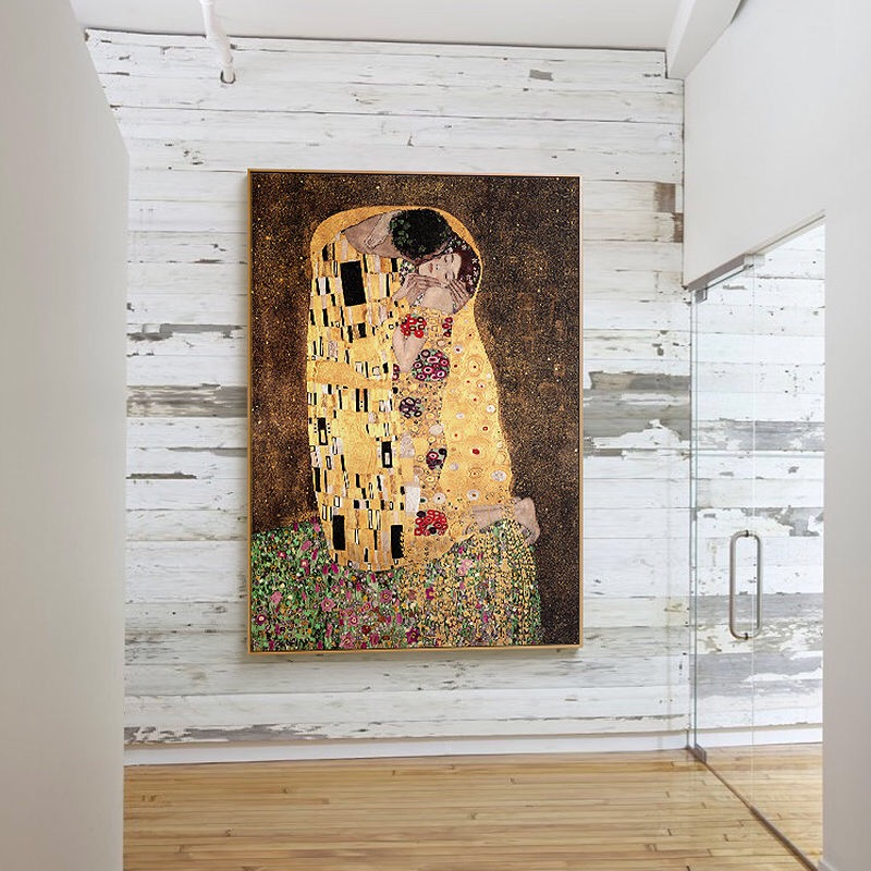 The Kiss by Gustav Klimt Famous Oil Paintings Reproductions Gallery Wrapped Modern Giclee Canvas Prints Artwork Pictures