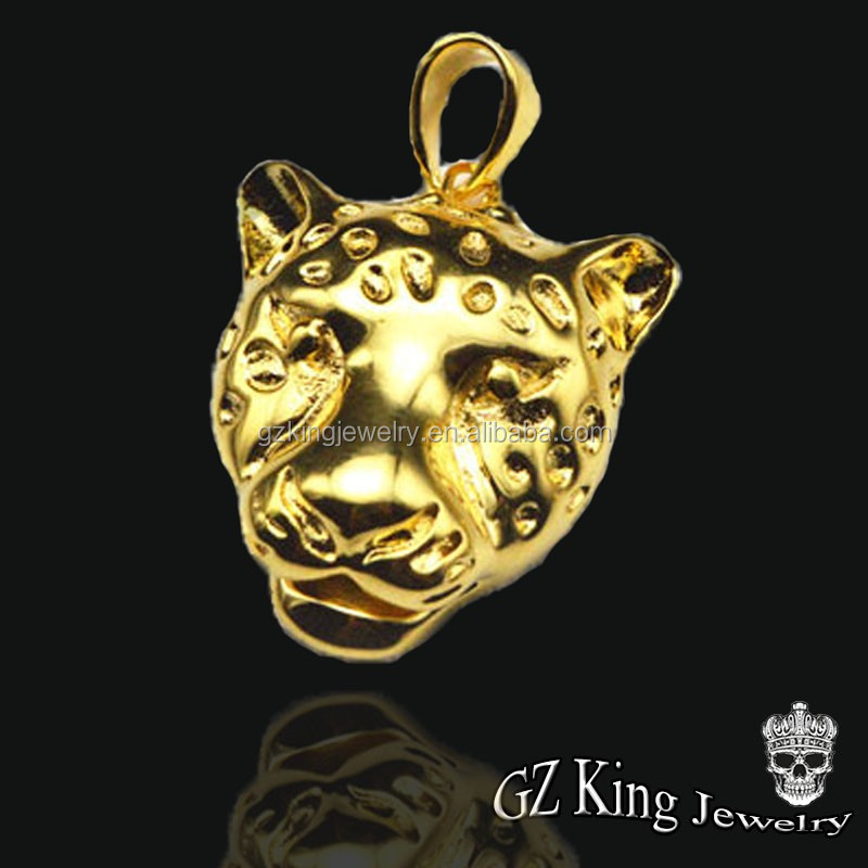 Gold filled tiger head necklace men pendant for men