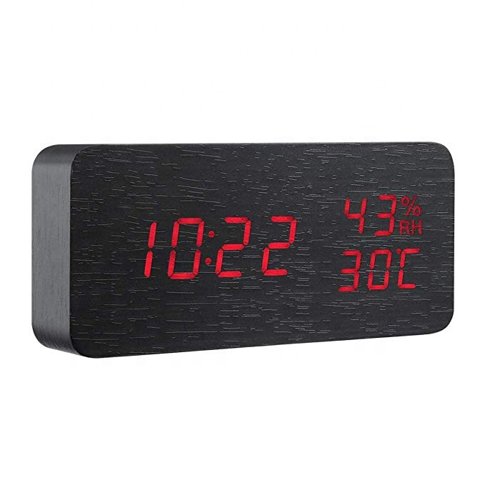 Hot Jual LED Display Suara Suara Meja Digital LED Jam Alarm Kayu