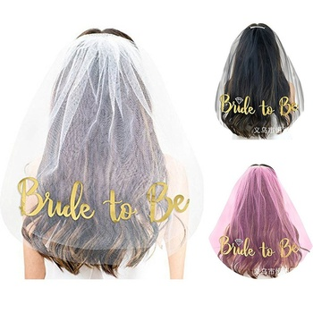 Decoration White Wedding Veil Gold Bride to be Veil For Bridal Shower Hen Party Supplies
