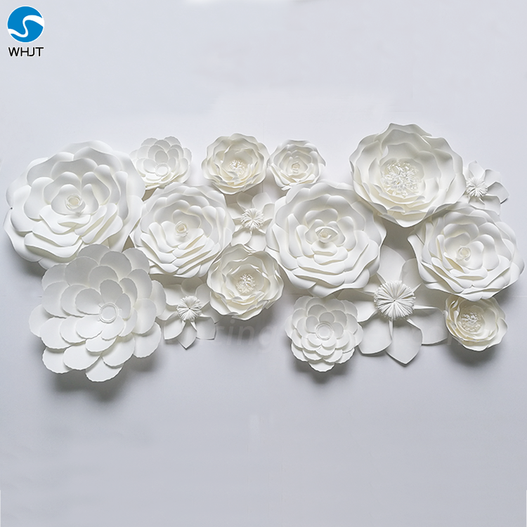 Artificial white decoration wedding flower backdrop paper flowers other flower design for your kind referencedecoration wedding flower backdrop white paper flowers wall mightylinksfo