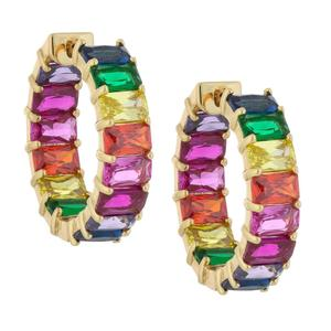 Rainbow earring hoops prong setting Multi color baguette cubic zirconia GOLD plated multi color cz jewelry for summer