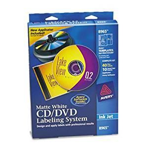 CD/DVD Design Kit, Matte White, 40 Inkjet Labels and 10 Inserts, Sold as 1 Kit