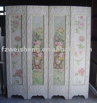 Wooden 4 Panel Folding Screen Room Divider With Hand Painted Flowers