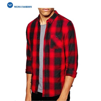 Custom Men Long Sleeve Red Plaid Shirt High Quality Flannel Shirt
