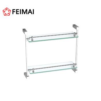 Bathroom Fitting Double Glass Shelf Double Layer Bathroom Glass Shelf For Bath Shower In The Bathroom Accessories Buy Double Glass Rackwall Mount