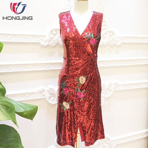 women wear V-Neckline Sequined embroidery Sexy Slim Dress sleeveless front vent and back zipper closure knee length Party dress