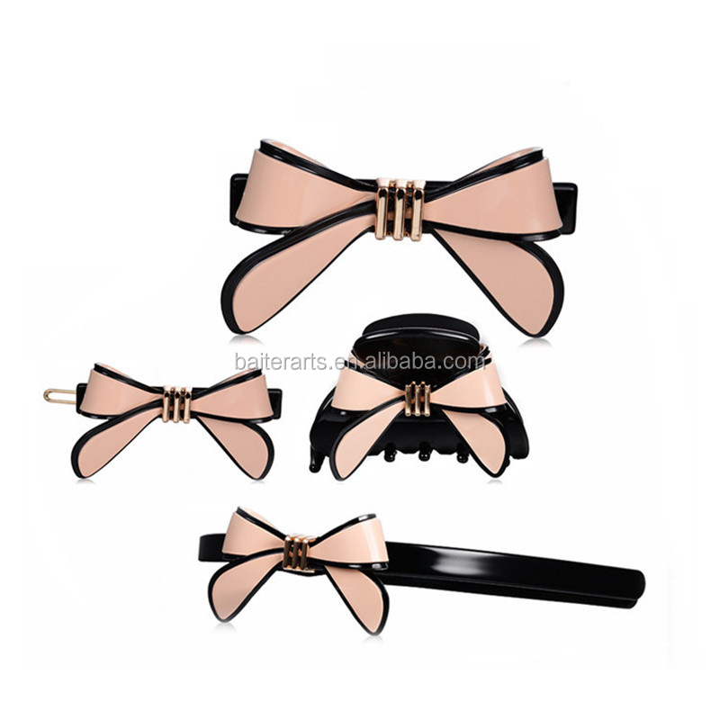 Lovely Hair Accessories Set Acrylic Headband Cellulose Acetate Bow Hair Claw/ Hair Clips/Hairbands