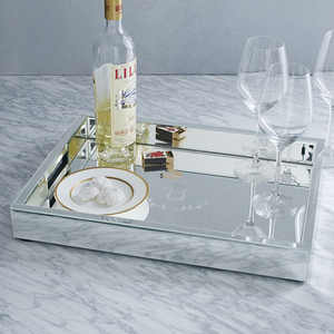 custom rectangle wedding service tray acrylic mirror serving tray for wedding hotel and party event