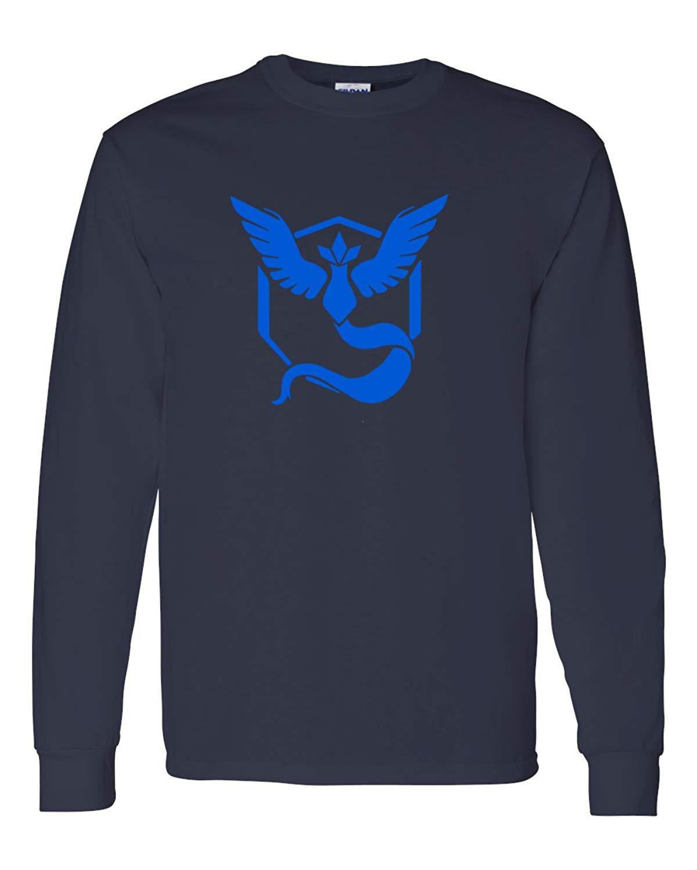 f52a70df8 Custom Apparel R Us Pokemon Go Gym Team Mystic Blue Youth Boys Girls Long Sleeve  Tee