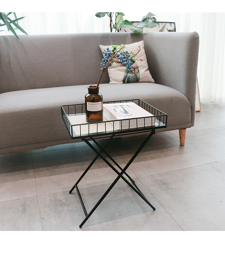 Foldable Rectangle Coffee Side Sofa Tray Table Modern Square Metal Home Centre Tables Antique Tea