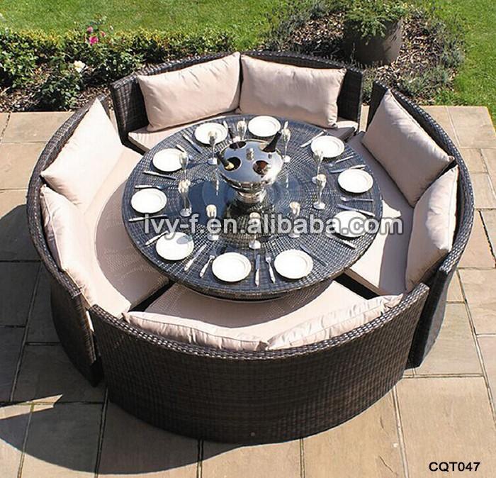 giardino rattan tavolo rotondo di vetro con 4 sedie/cena tavola ... - Tavolo Da Pranzo Set Con Tavola Rotonda