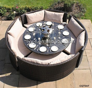 Garden Rattan Round Glass Table With 4 Chairs Dinner Table Round Round Coffee Table With Seating