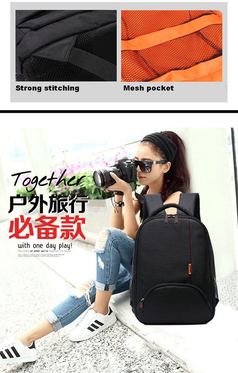 Tigernu brand fashion Anti-water Anti-shock nylon backpack for hidden camera len Digital DSLR camera bag