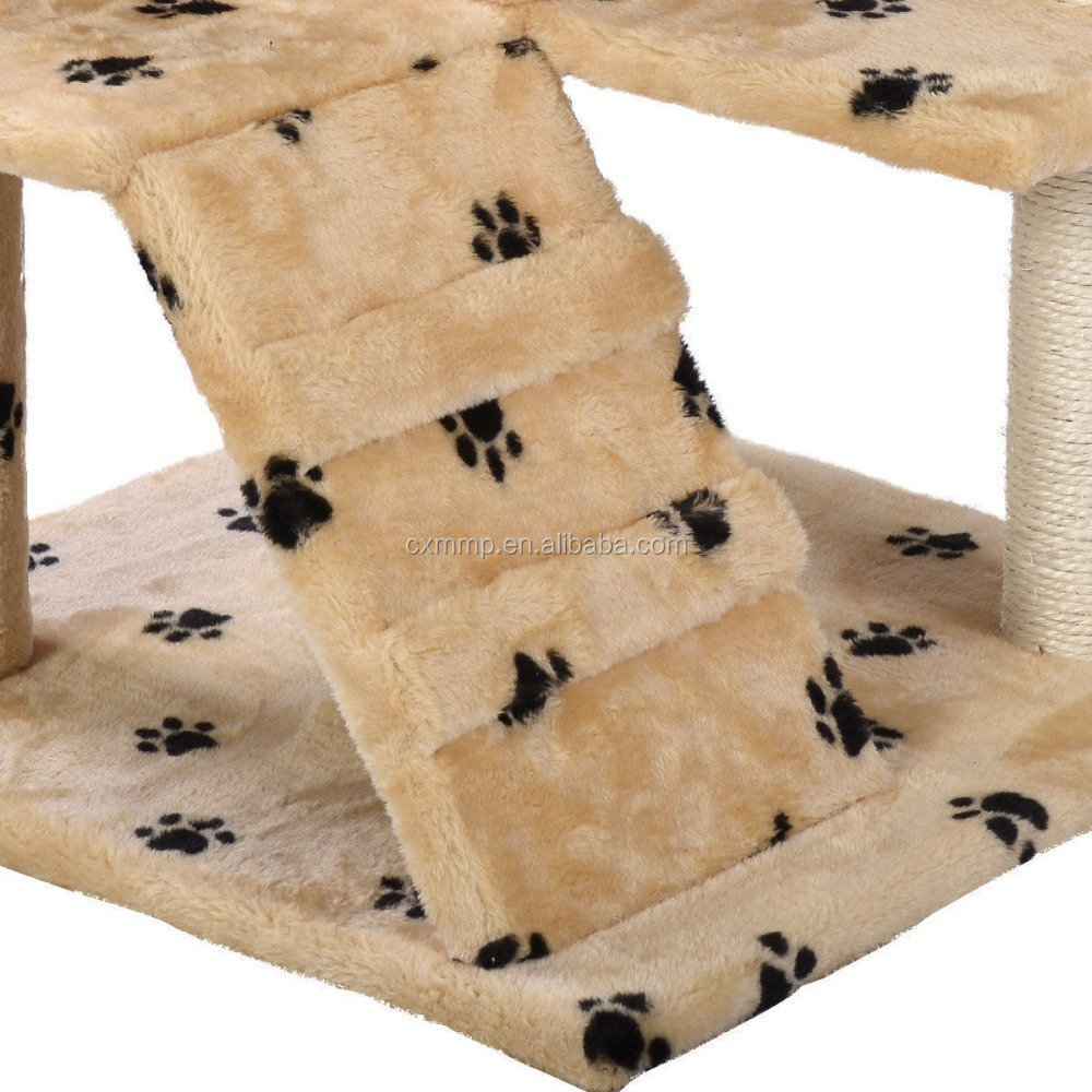 "52"" Cat Tree Tower Condo Furniture Scratch Post Kitty Pet House Play Beige Paws"