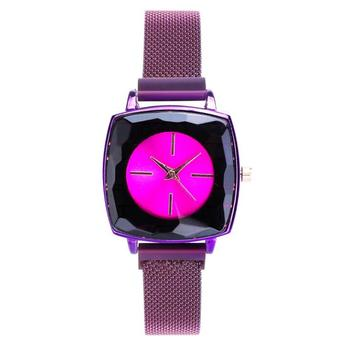 New Good Quality Red Lady Watch Popular Square Magnetic Watch for Women