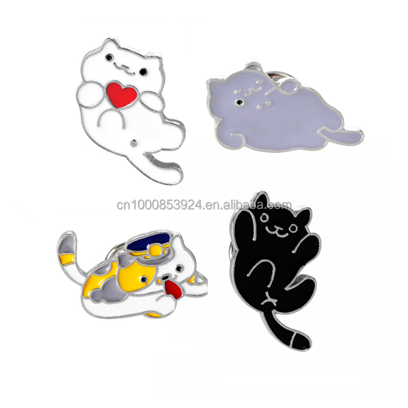 Fashion Brooch Pins Button Cat Metal Enamel Pin For Girl Women Broches Collar Badge
