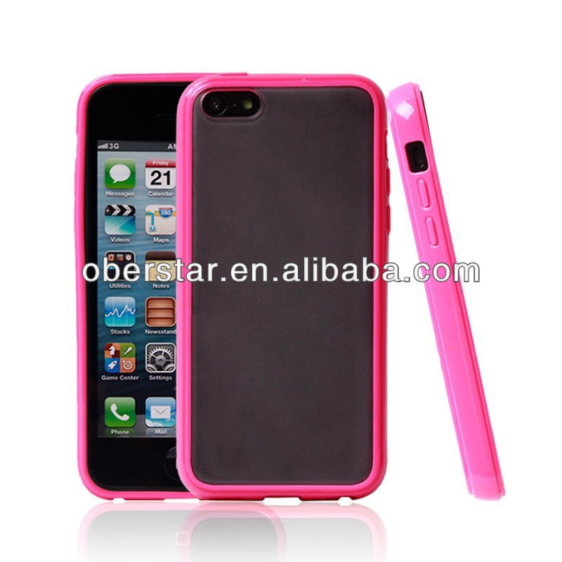 For iPhone 5C TPU bumper frosted back PC TPU gel cover case