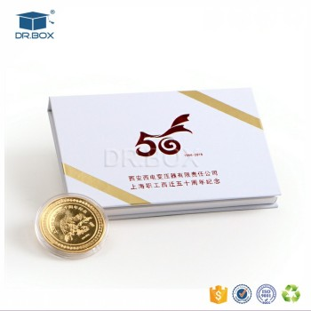 White color gold coin gift boxrigid set up box with business card white color gold coin gift box rigid set up box with business card and ribbon reheart Gallery