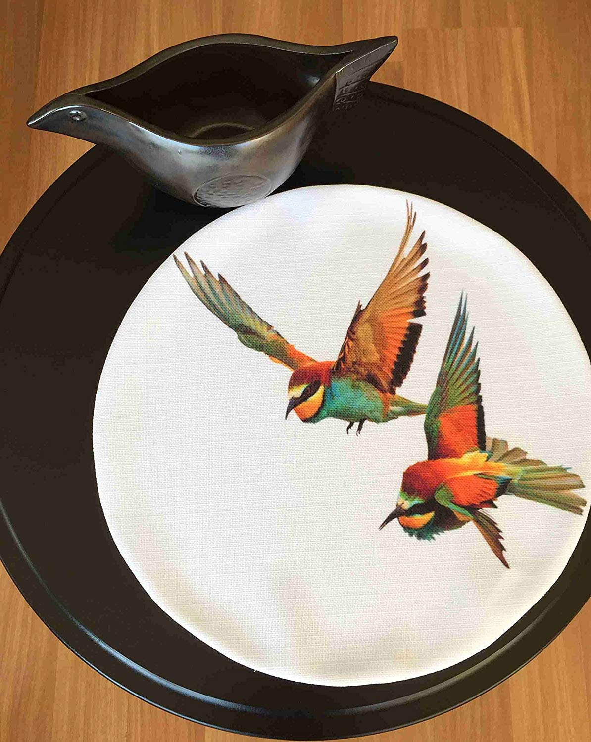 "TekgulDesign Hummingbird Placemats,%100 Polyester, Handmade, Diameter: 35cm (14""), Crease Resistant and Stain-Proof Fabric, Modern and Colorful Ultra HD Graphics."
