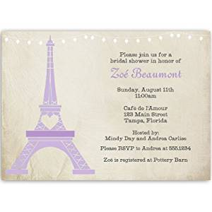 Buy paris bridal shower invitations with eiffel tower purple paris bridal shower invitations with eiffel tower purple french vintage chic tea filmwisefo