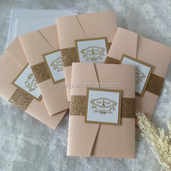 Fancy Blush Pink And Gold Glitter Pocket Fold Wedding Invitations With Rose Printing