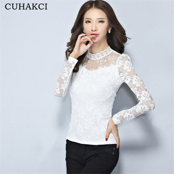 23a0cb2a1f0 Fashion Women Sexy Tops Lace long Sleeve White Embroidery Blouse Design  Shirt Female Blouses Plus size