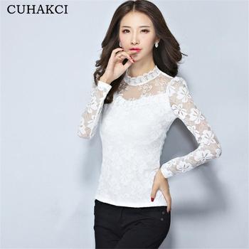 Mulheres da moda Tops de Renda Sexy Manga longa Blusa Branca Bordado Camisa  do Projeto Feminino 0f73a68cfaf
