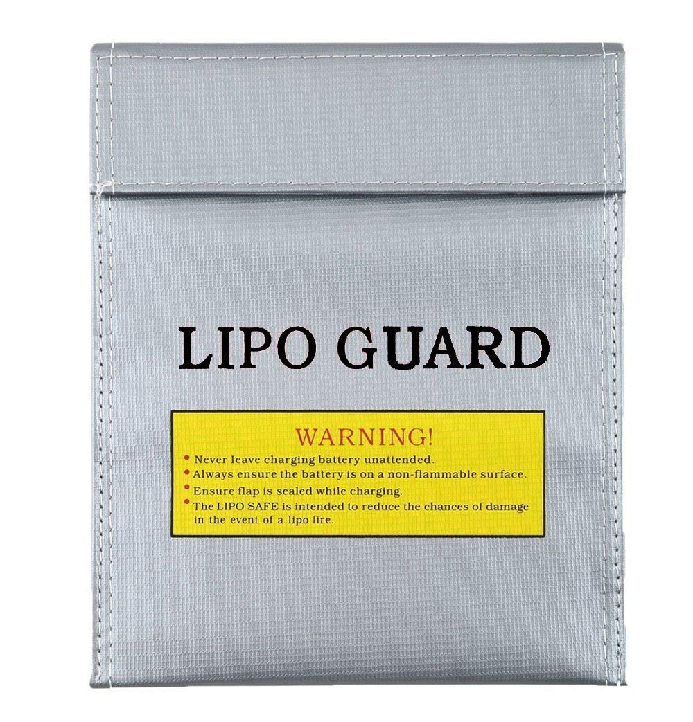 Ihoolee Large Size Lipo Battery Guard Sleeve/Bag, Fireproof Explosion-proof Bag RC Lipo Battery Safe Bag for Charge & Storage, Silver