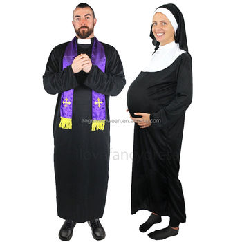 Funny Halloween Costumes For Pregnant Couples.Couples Priest And Pregnant Funny Nun Costume Religious Funny Halloween Laides Mens Costume Agm2753 Buy Halloween Costume Nun Costume Funny Costume