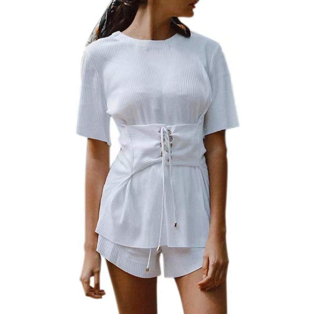 5b14ebb6286 Get Quotations · Big Sale! Women Tops Daoroka Sexy Knitting Short Sleeve  Bandage Lace Up Round Neck White