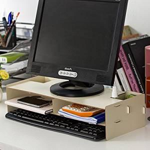 Mkono Computer LCD Monitor Laptop Stand Shelf Desktop Screen Frame for Office & Home,2-tier Desktop Organizer (maple)