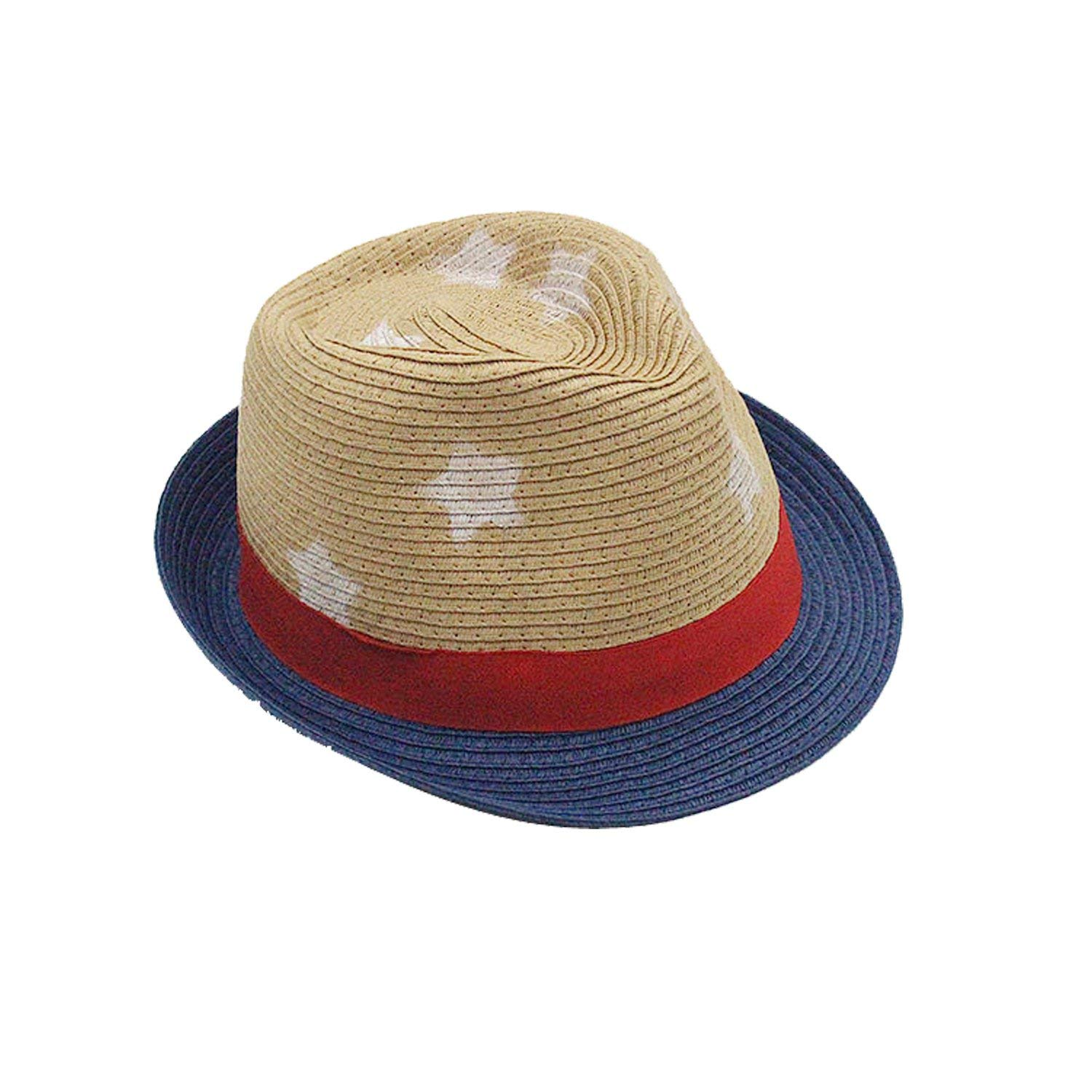 f47b619e Get Quotations · Coxeer Party Straw Hat Straw Fedora Hat Stars Printed Summer  Beach Straw Hat for Boys Girls