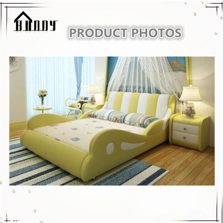 ea8600ff4 Crianças mobília moderna upholsterd couro cama macia dupla para ...