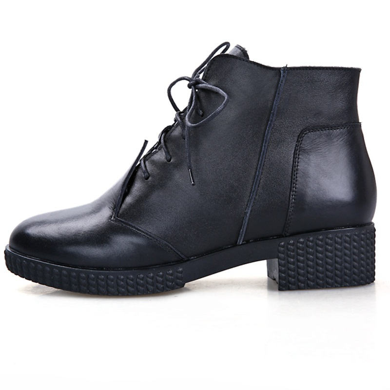 2015 spring autumn fashion hit color motorcycle boots round toe black shoes women genuine leather cross lacing women ankle boots