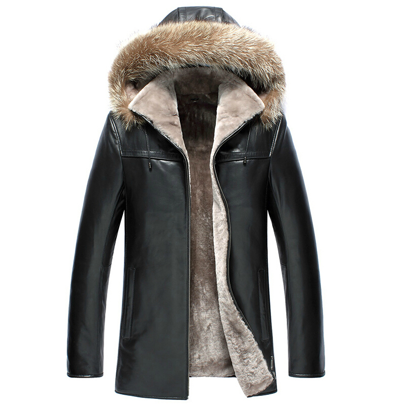 New Phoenix 2015 winter outerwear fur one piece leather clothing male genuine leather clothing with a hood medium-long fur
